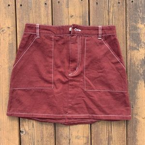 Burgundy skirt from Hollywood boutique